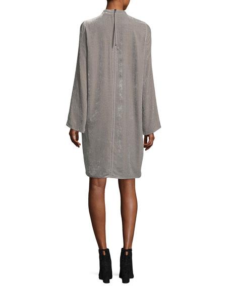 Long-Sleeve High-Neck Velvet Tunic Dress