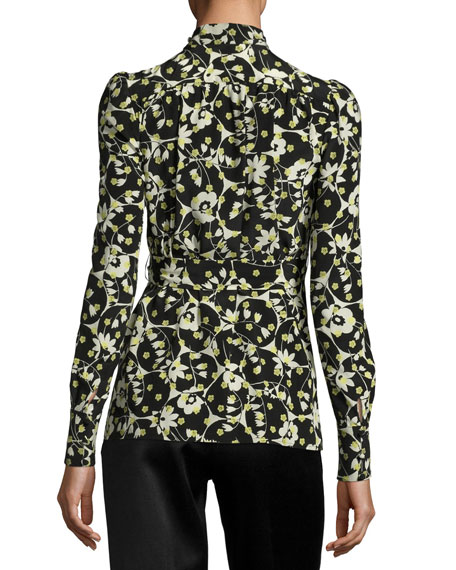 Long-Sleeve Floral-Print Silk Turtleneck, Black Pattern