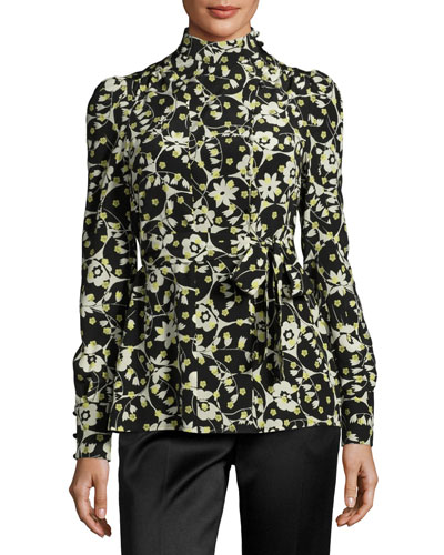 Long-Sleeve Floral-Print Silk Turtleneck, Black Pattern