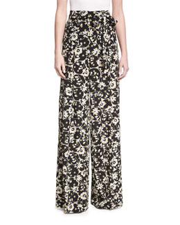 Flower-Print Silk Pajama Pants, Black Pattern