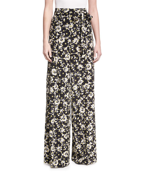 Flower-Print Silk Pajama Pants, Black Pattern