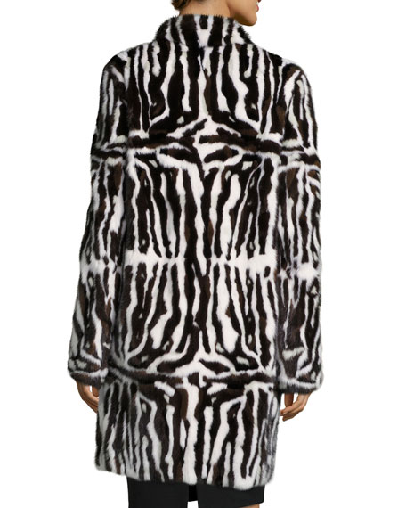 Intarsia Mink Fur Coat, Brown/White