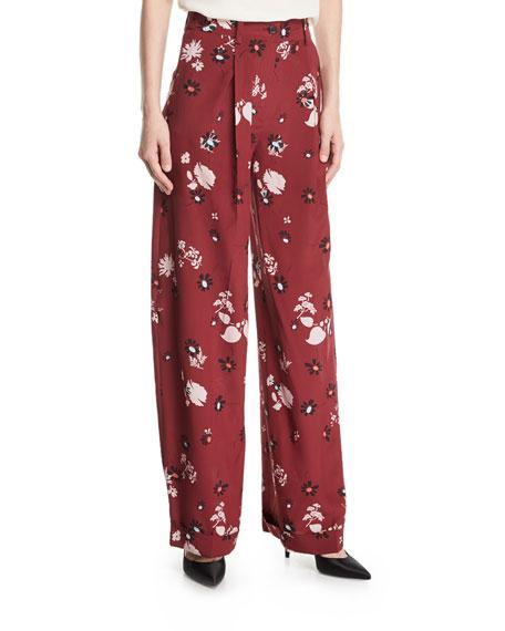 Floral-Print Pajama Pants