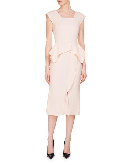 Roland Mouret Sawleigh Cap-Sleeve Peplum Dress, Blush