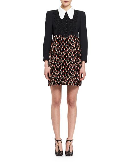 Long-Sleeve Crepe & Velvet Poppy-Print Minidress, Multicolor