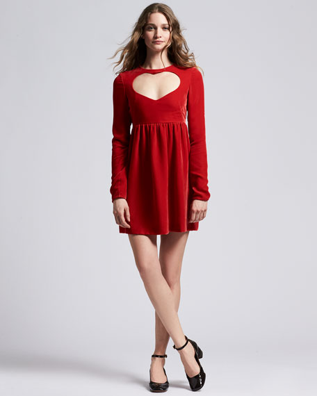 Long-Sleeve Velvet Heart-Cutout Minidress, Red