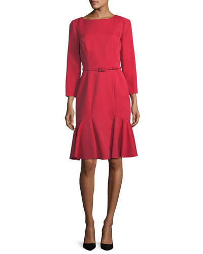 Belted Stretch-Wool Flounce Dress, Red