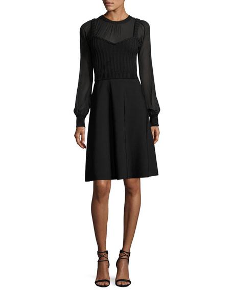 Chiffon-Sleeve Knit Dress
