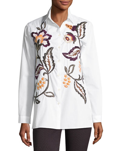 Floral-Embroidered Cotton Shirt, Ivory