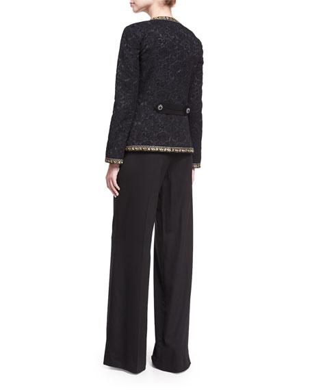 Floral Brocade Jacket with Lurex® Trim, Black