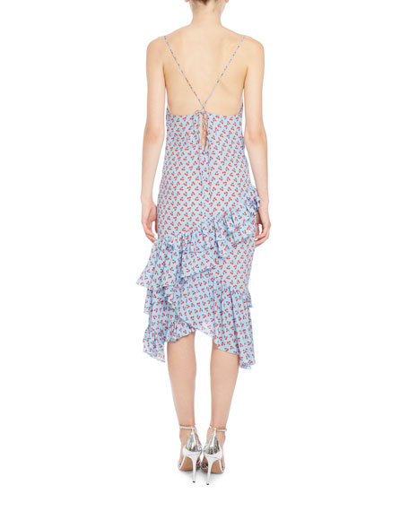 Corona Ruffled Silk Slip Dress, Blue