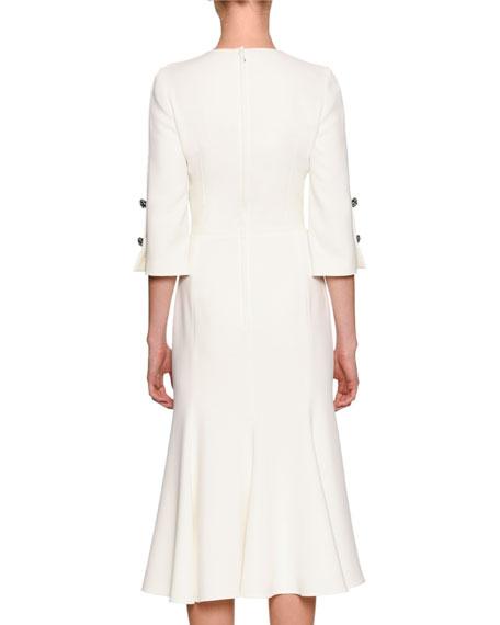 Hydrangea-Embroidered Elbow-Sleeve Dress, White