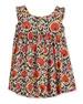 Narciso Cap-Sleeve Dress, Orange Pattern, Size 4-8