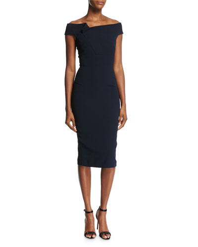 Monamy Off-Shoulder Dress, Navy
