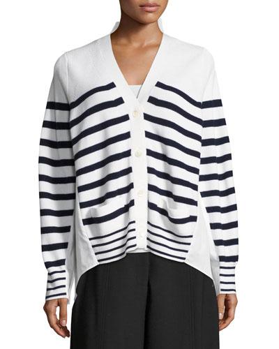 Striped Knit Cardigan Sweater, White Pattern