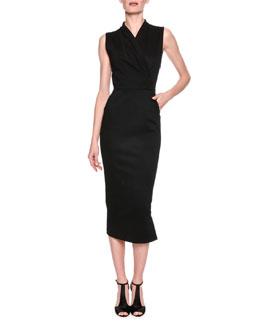 Faux-Wrap Midi Sheath Dress, Black