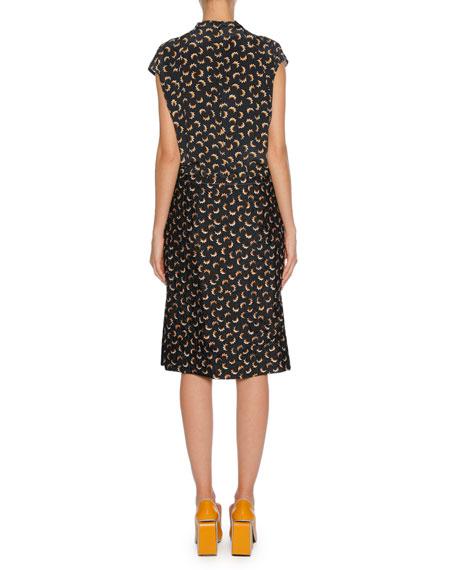 Printed Silk Tie-Neck Cap-Sleeve Dress, Charcoal