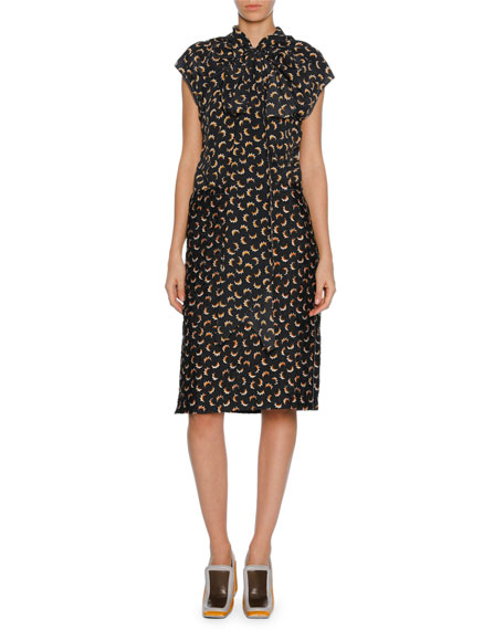 Printed Silk Tie-Neck Cap-Sleeve Dress, Gray
