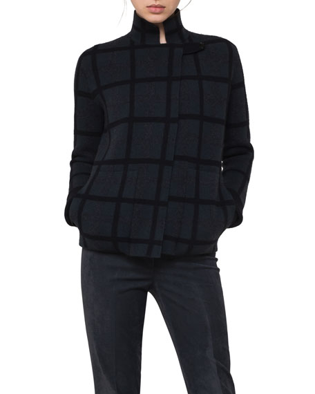 Grid-Check Reversible Cashmere Cardigan