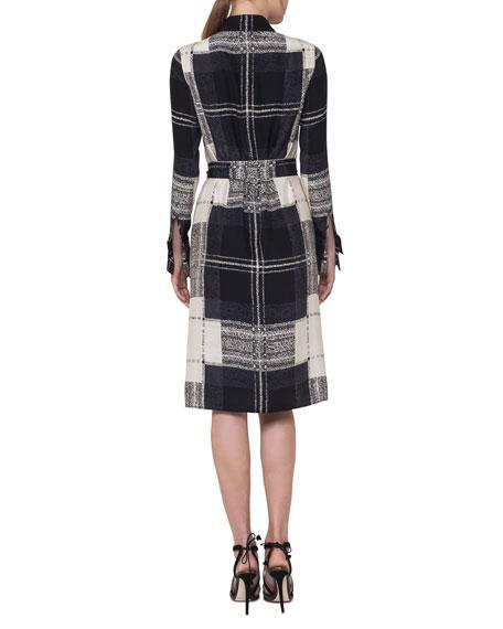 Crosshair-Print Silk Satin Belted Shirtdress