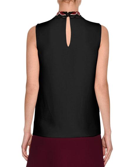 Sleeveless Cady Top w/Macrame Collar, Black