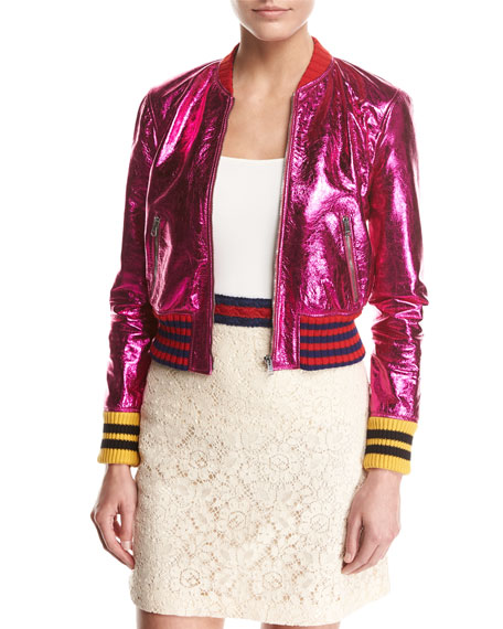 Metallic Fuchsia Leather Bomber Jacket