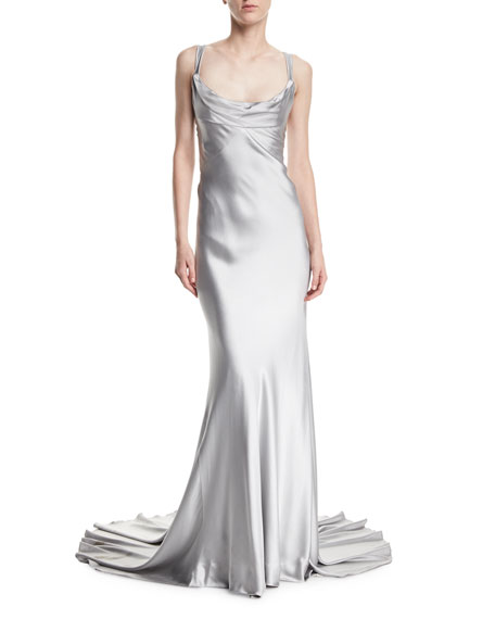 Crepe-Back Satin Cross-Back Gown
