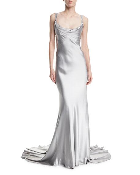 Crepe-Back Satin Cross-Back Gown