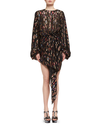 Peacock-Print Blouson Dress, Multi Pattern