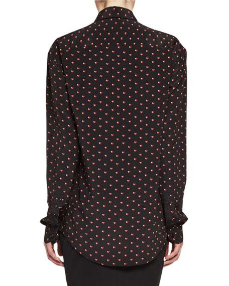 Mini Hear-Print Silk Blouse, Black/Red