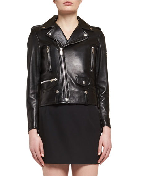Leather Moto Jacket, Black