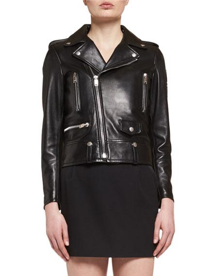 Leather Moto Jacket, Black
