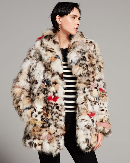 Color-Splashed Fox Fur Coat