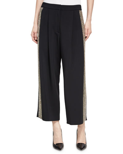Metallic-Trim Pleated Culottes, Black