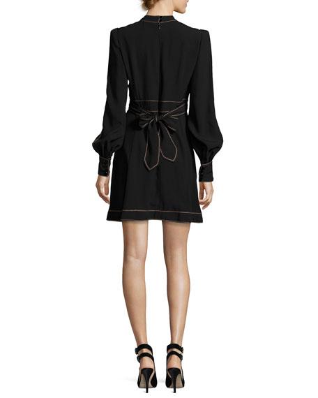 Long-Sleeve Belted Minidress