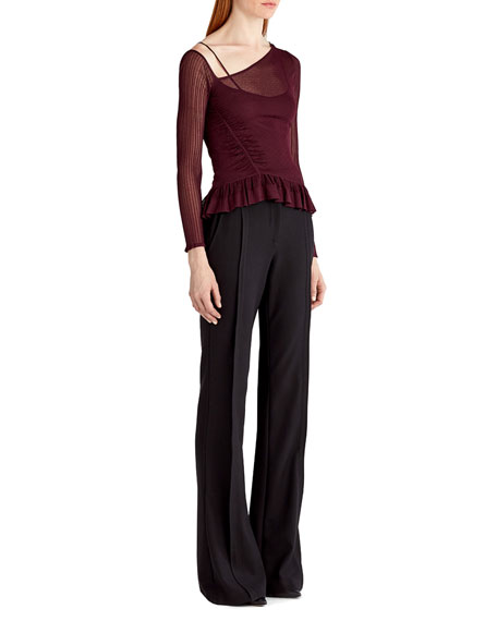 Asymmetric Sheer Knit Top