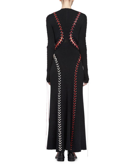 Laced Long-Sleeve Knit Gown