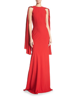 Crepe Draped-Shoulder Gown