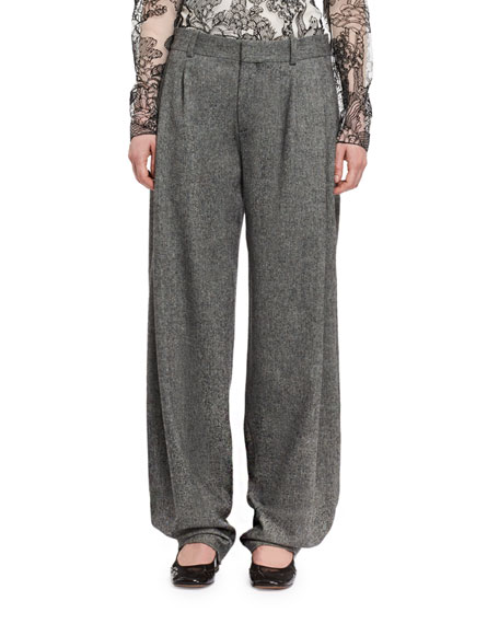 Tweed Pleated Wide-Leg Pants