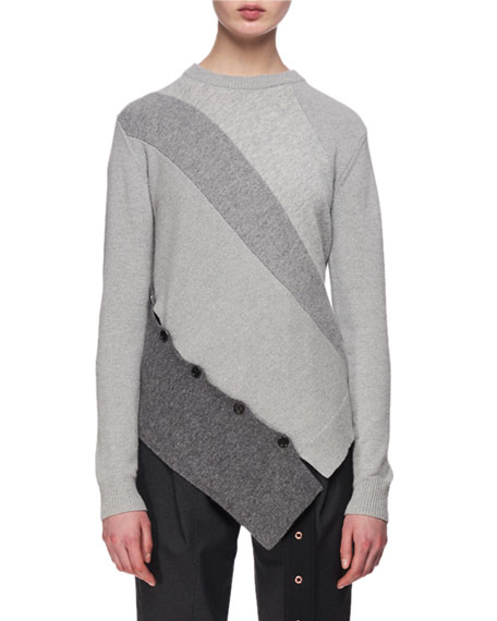 Paneled Wool-Cashmere Asymmetric Sweater, Gray