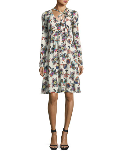 Pop-Flower Tie-Neck Long-Sleeve Dress