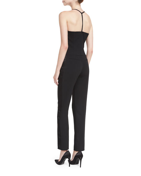 Plunging T-Back Crepe Jumpsuit