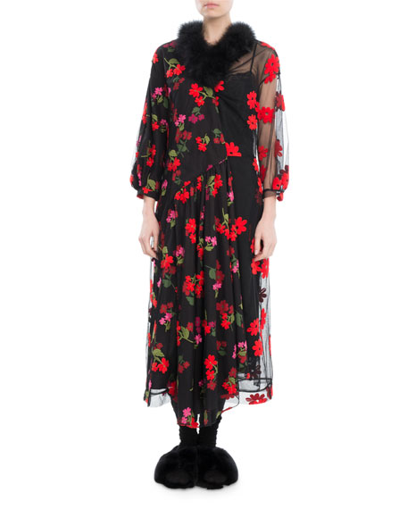 Marabou-Trim Floral-Embroidered Dress
