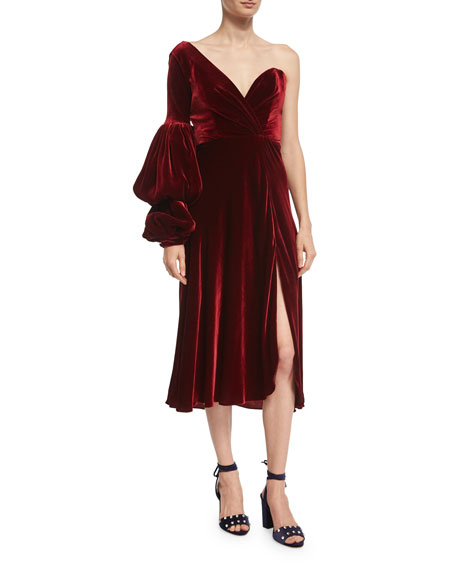 Sabina One-Shoulder Velvet Sweetheart Dress