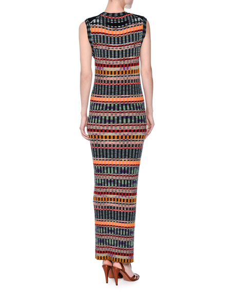 Graphic Ribbed Sleeveless Maxi Dress