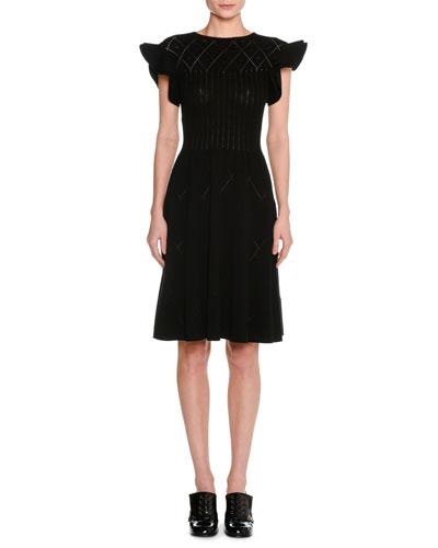 Flutter-Sleeve Pointelle Knit Dress