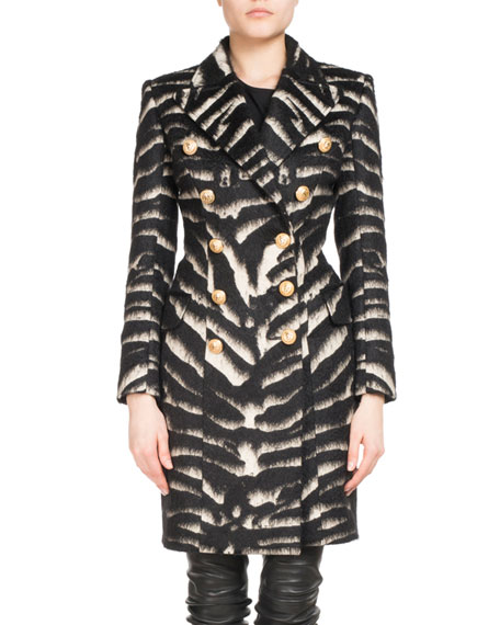 Double-Breasted Zebra-Print Coat