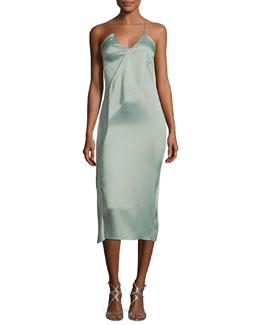 Strappy Satin Pencil Dress