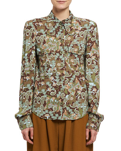 Floral Paisley Button-Down Blouse