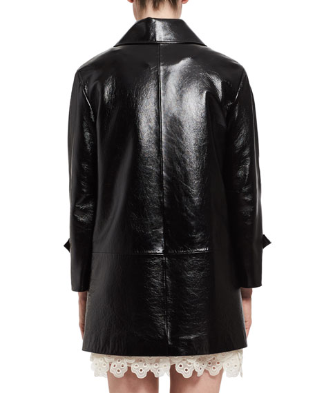 Shiny Leather Button-Front Coat